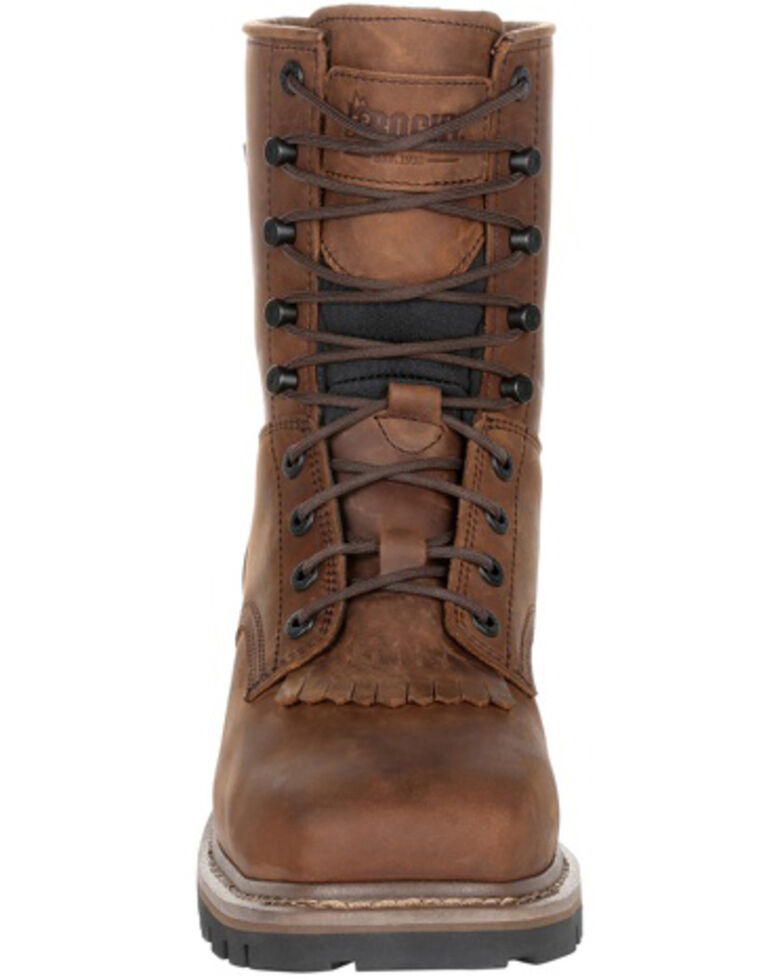 Rocky Men's Waterproof Logger Boots - Soft Toe, Dark Brown, hi-res