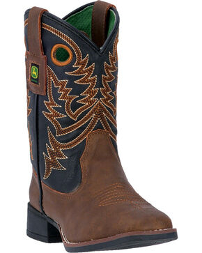 John Deere Kid's Brown Western Boots - Square Toe, Tan, hi-res