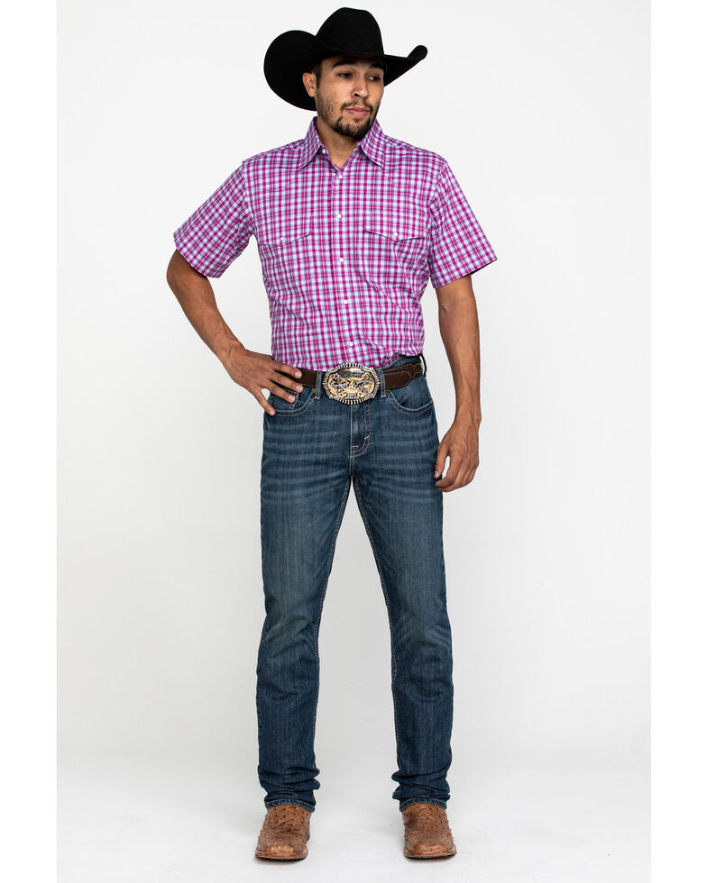 Wrangler Men's Wrinkle Resist Magenta Plaid Short Sleeve Western Shirt , Dark Pink, hi-res