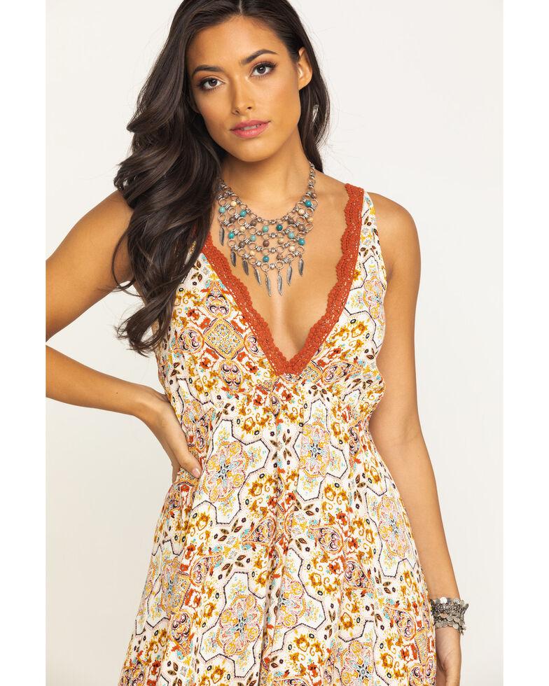 Luna Chix Women's Tile Deep V Hanky Dress , Ivory, hi-res