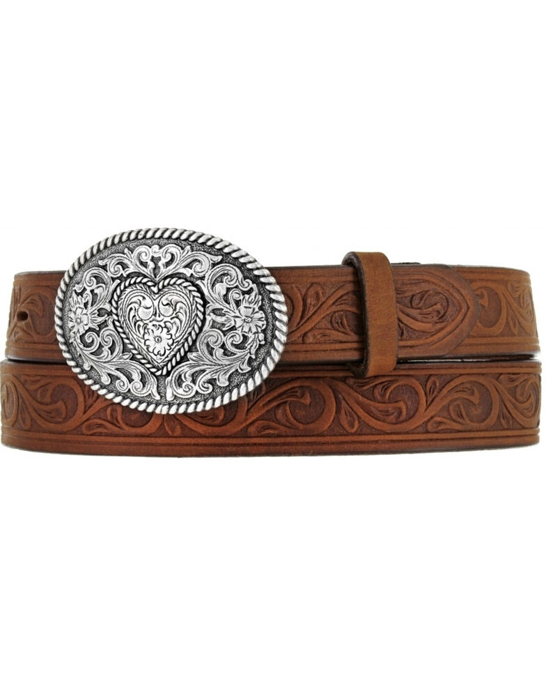 Justin Boots Girl's Western Scroll Heart Belt, Aged Bark, hi-res