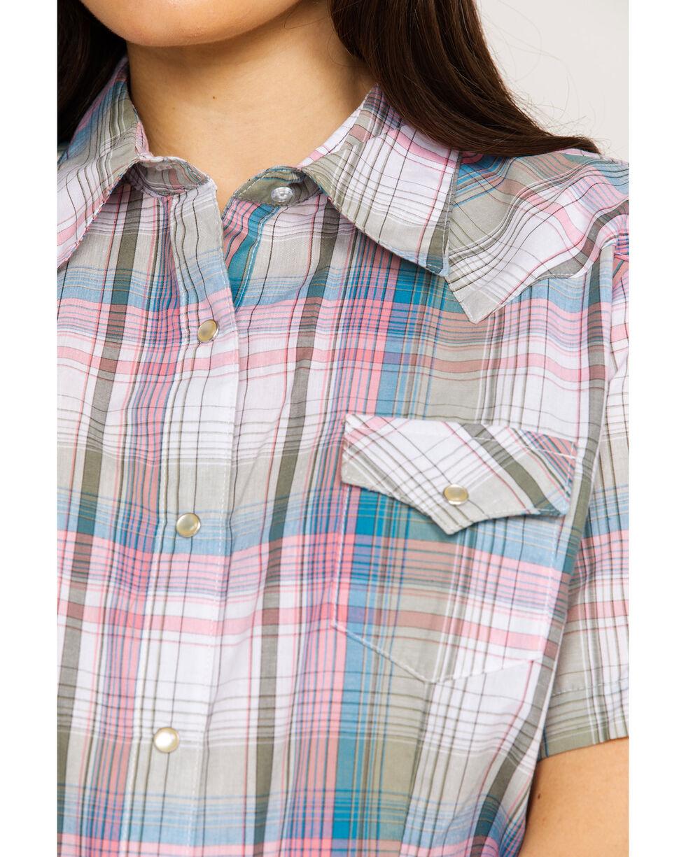 Wrangler Women's Multi Plaid Core Short Sleeve Western Shirt , Blue, hi-res