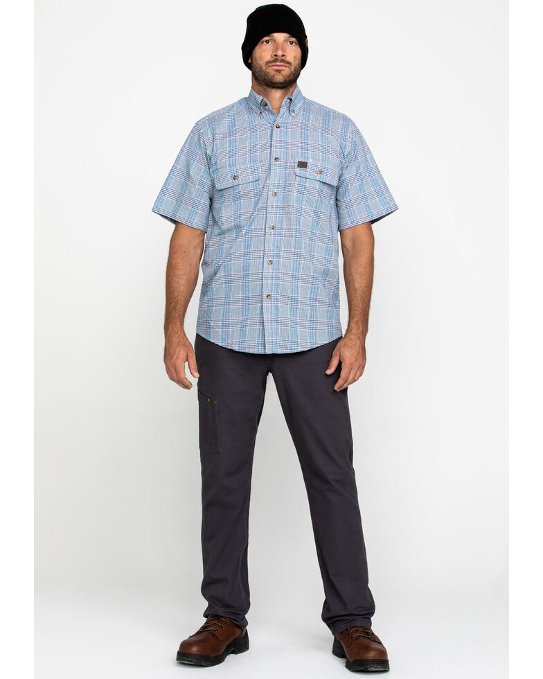 Wrangler Riggs Men's Navy Plaid Short Sleeve Work Shirt - Tall , Navy, hi-res