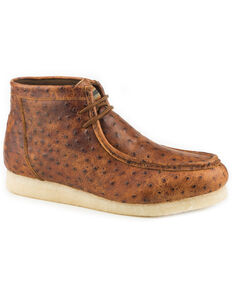 Roper Men's Cognac Gum Sticker Ostrich Print Chukka Shoes , Tan, hi-res