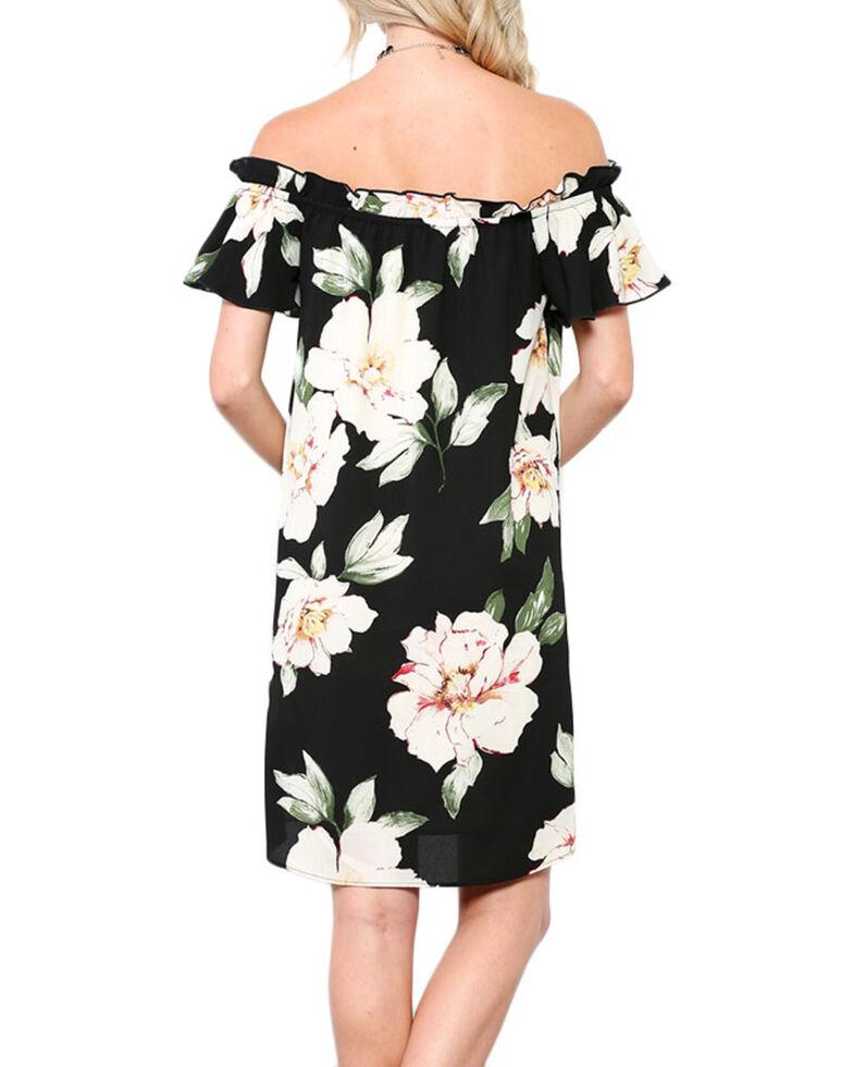 Ces Femme Women's Floral Off The Shoulder Dress, Black, hi-res
