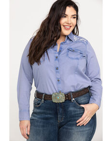 Ariat Women's R.E.A.L. Brilliant Snap Long Sleeve Western Shirt - Plus, Indigo, hi-res