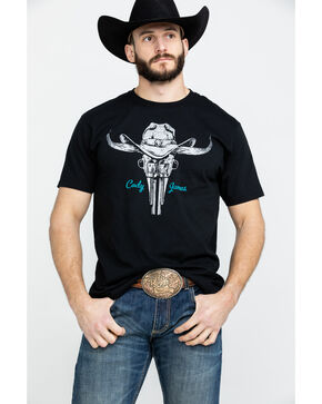 Cody James Men's Longhorn Western Revolver Graphic T-Shirt , Black, hi-res