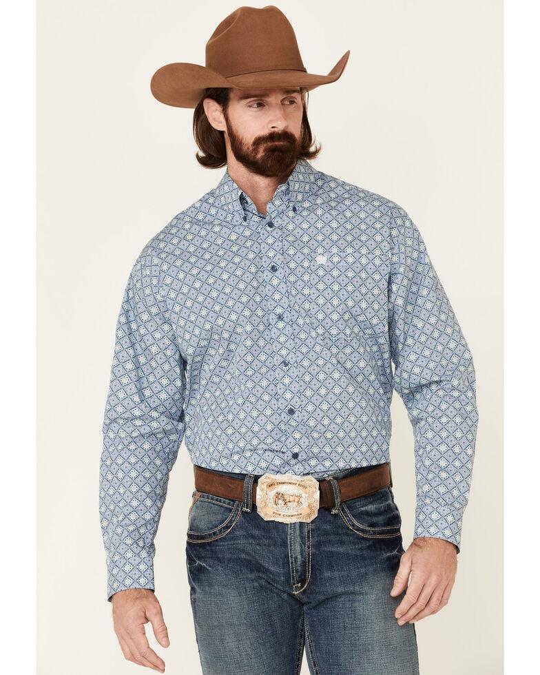Cinch Men's Blue Floral Geo Print Long Sleeve Western Shirt , Blue, hi-res