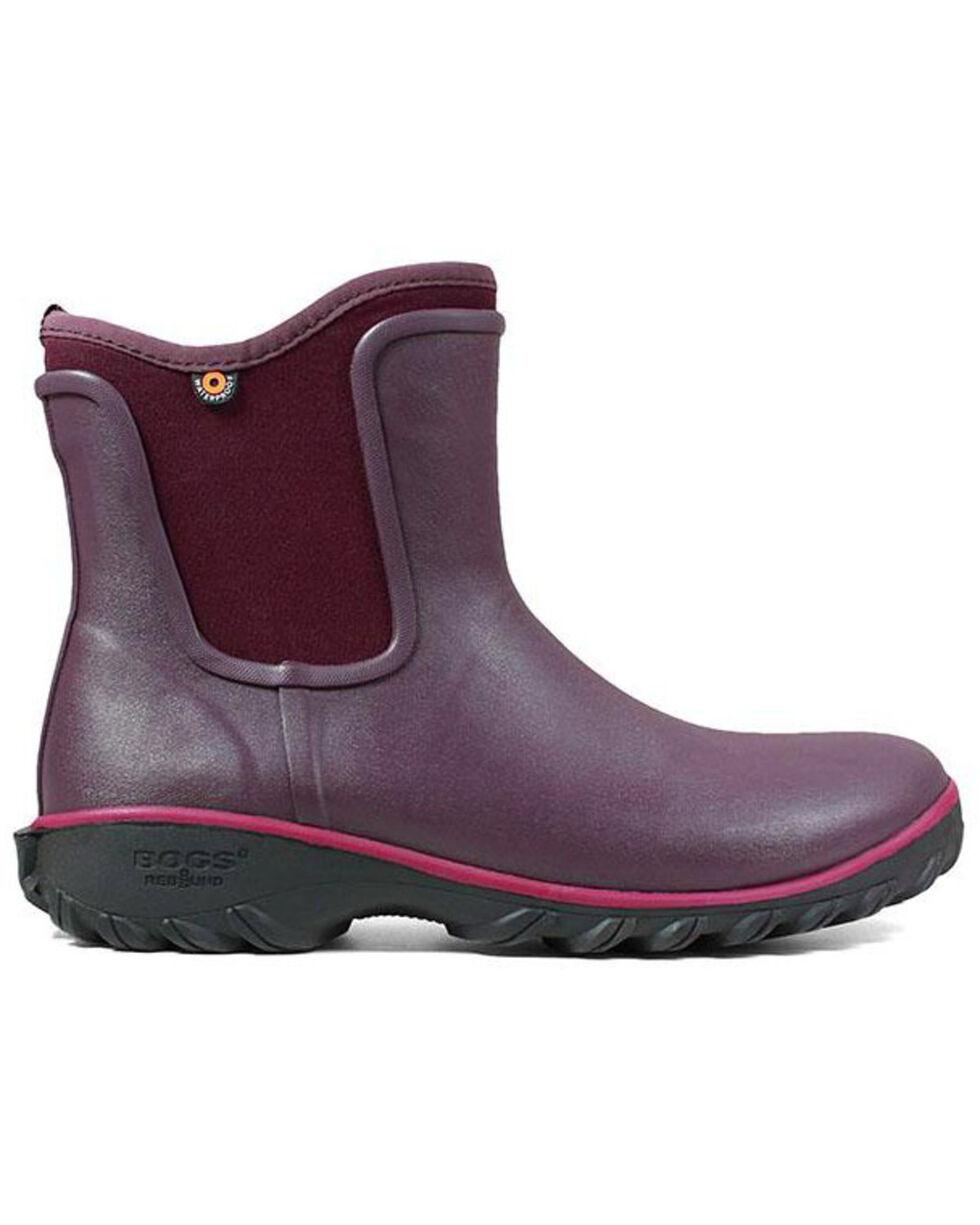 Bogs Women's Sauvie Waterproof Slip-On Boots - Round Toe, Wine, hi-res