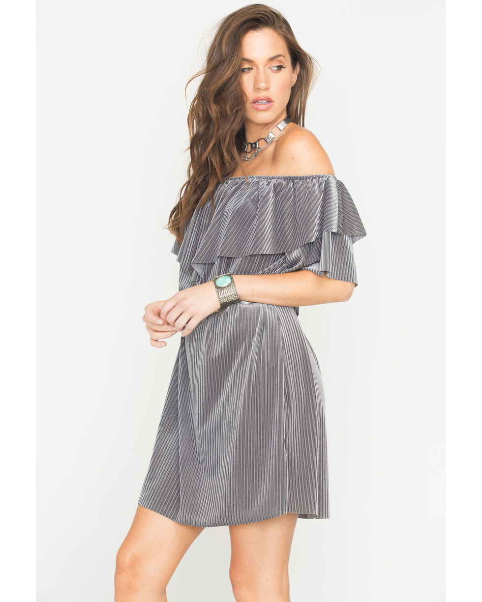 CES FEMME Women's Grey Ribbed Flounce Ruffle Dress , Grey, hi-res