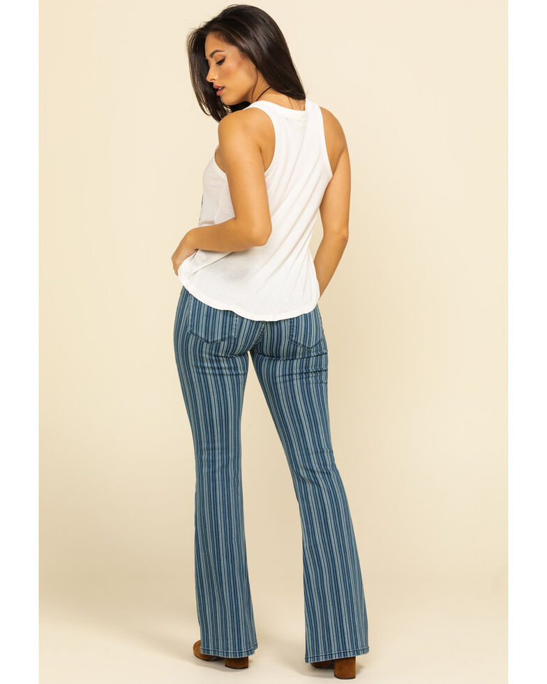 Rock & Roll Cowgirl Women's Denim Stripe Flare Jeans, Multi, hi-res