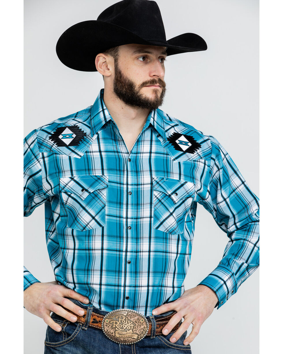 Ely Cattleman Men's Turquoise Retro Plaid Embroidered Long Sleeve Western Shirt  , Turquoise, hi-res