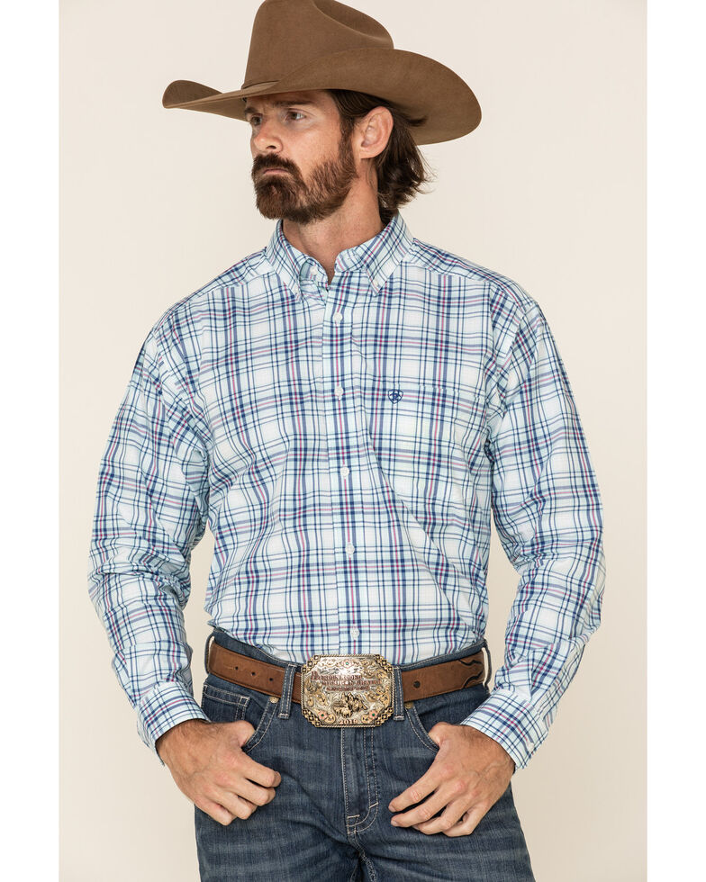 Ariat Men's Gomes Med Plaid Long Sleeve Western Shirt , Light Blue, hi-res