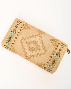 Montana West Women's Aztec Embroidered Wallet, Black/brown, hi-res