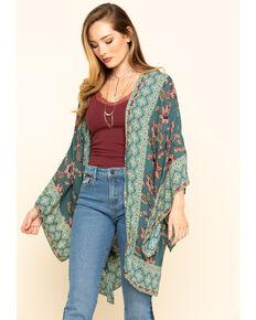 Angie Women's Green Floral Kimono, Green, hi-res