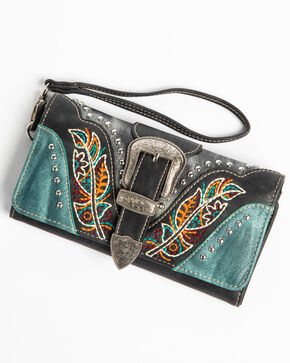 Shyanne Women's Multi Color Embroidered Feather Wallet, Black, hi-res