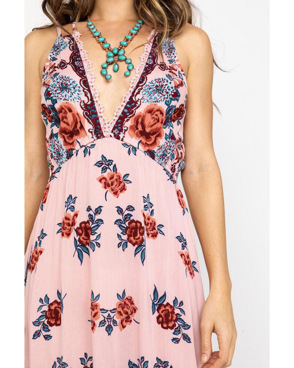 Angie Women's Blush Floral Hanky Hem Dress, Blush, hi-res