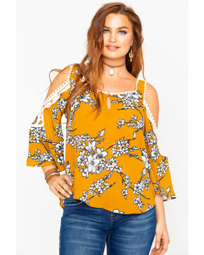 Luna Chix Women's Floral Print Cold Shoulder Crochet Top , Dark Yellow, hi-res