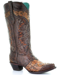 Corral Women's Honey Python Inlay Western Boots - Snip Toe, Chocolate, hi-res