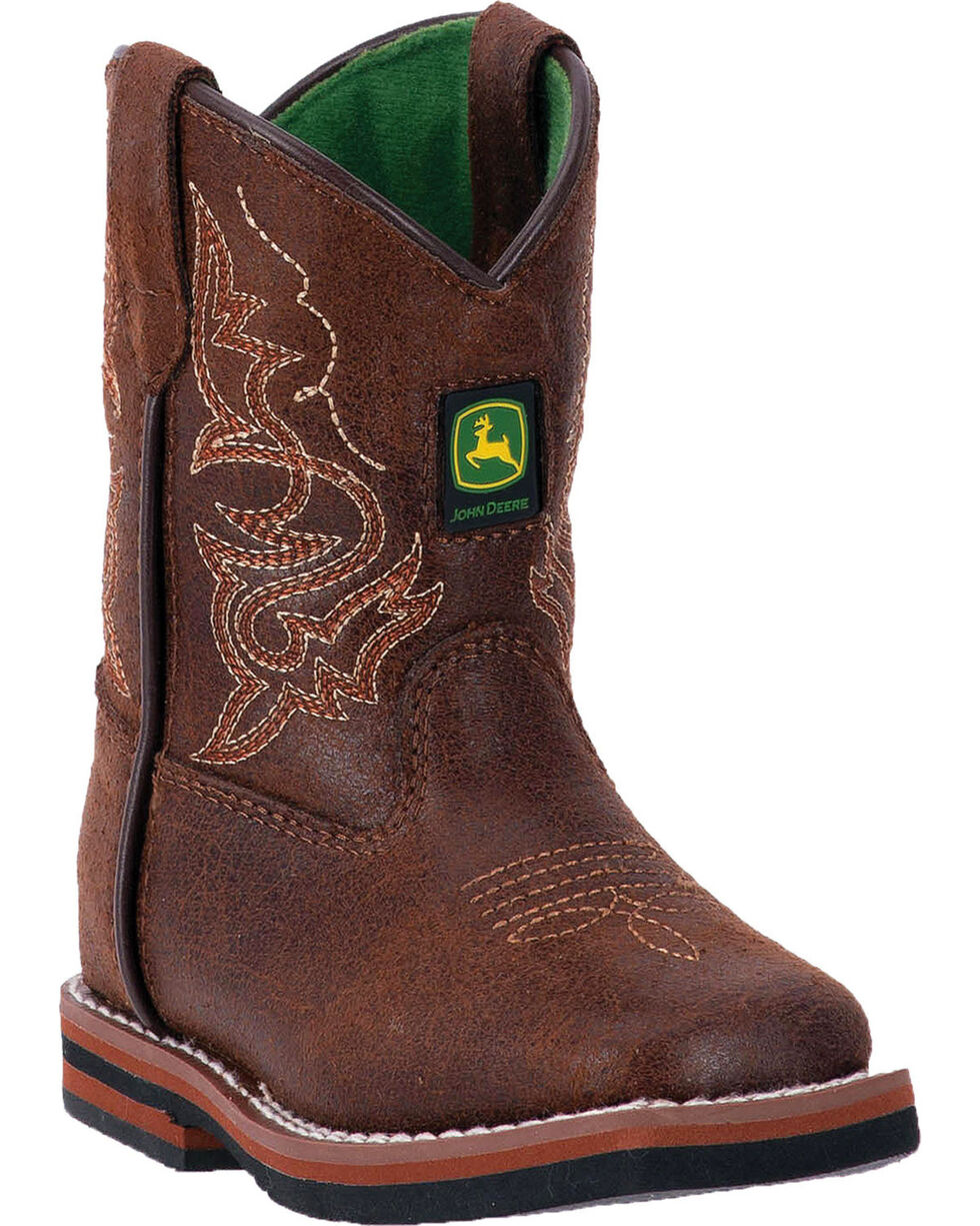 John Deere Toddler Boys' Rubber Outsole Western Boots - Square Toe , Russett, hi-res