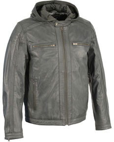 Milwaukee Leather Men's Zipper Front Leather Jacket w/ Removable Hood - Big - 5X, Charcoal, hi-res