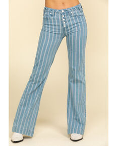 Rock & Roll Cowgirl Women's Light Stripe Trousers, Blue, hi-res