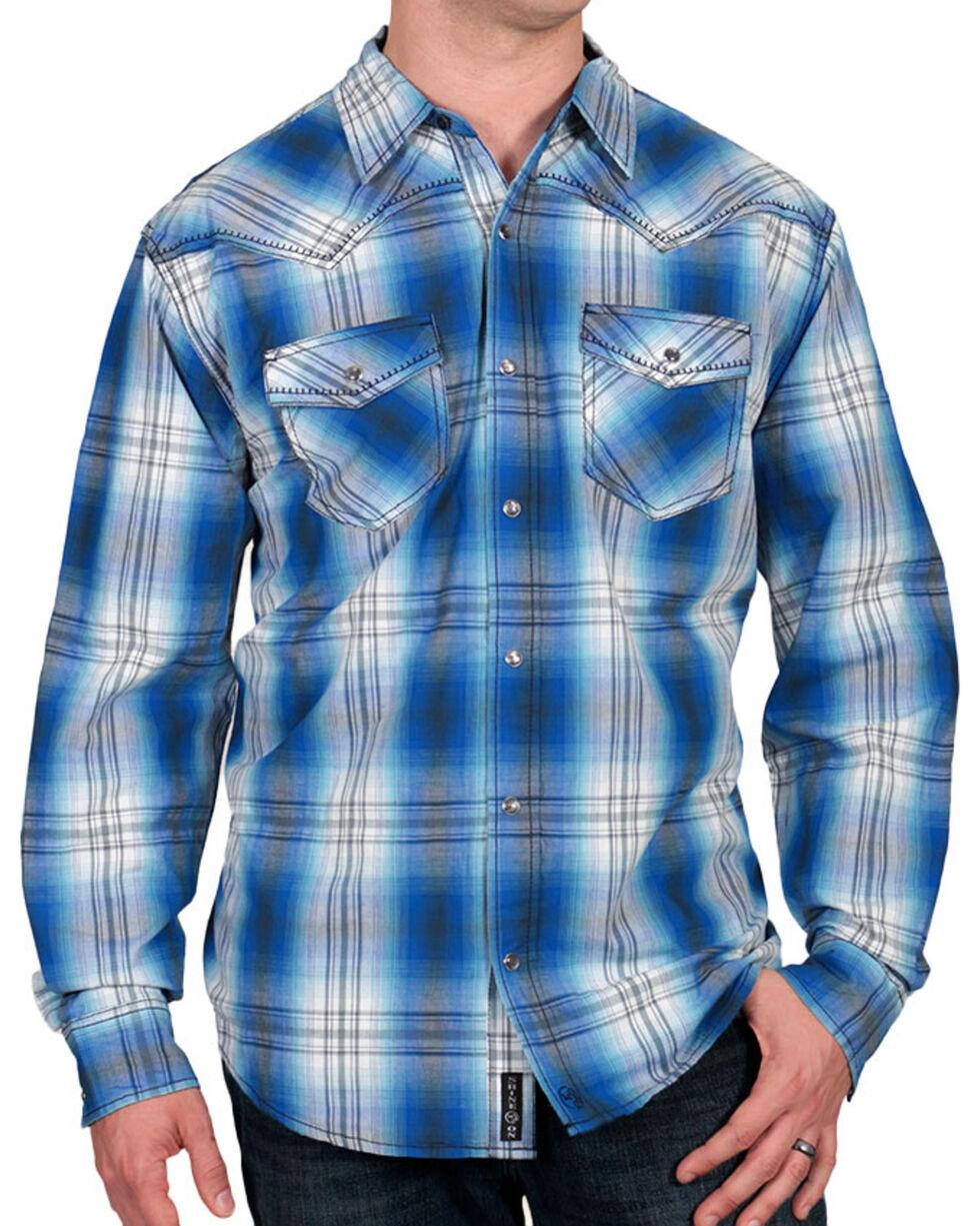 Moonshine Spirit Men's Plaid Print Western Shirt, Blue, hi-res
