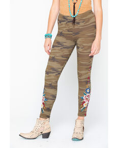 Johnny Was Women's Camo' Darielle Embroidered Leggings  , Camouflage, hi-res