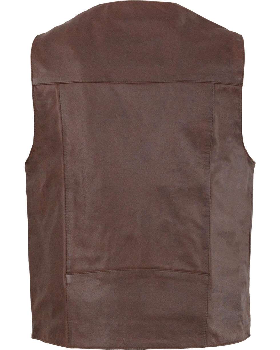 Milwaukee Leather Men's Western Plain Side Vest - Big 4X , , hi-res