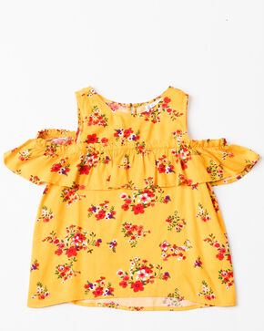 Shyanne Girls' Floral Printed Cold Shoulder Short Sleeve Ruffle Top , Gold, hi-res