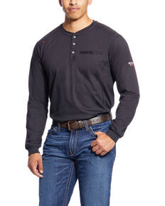 Ariat Men's Black Air Henley Long Sleeve Work Shirt - Big & Tall , Black, hi-res