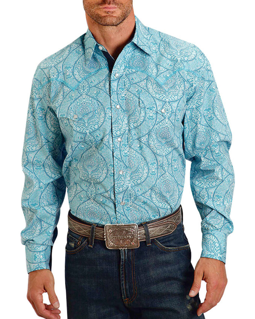 Stetson Men's Floral Long Sleeve Shirt , Turquoise, hi-res