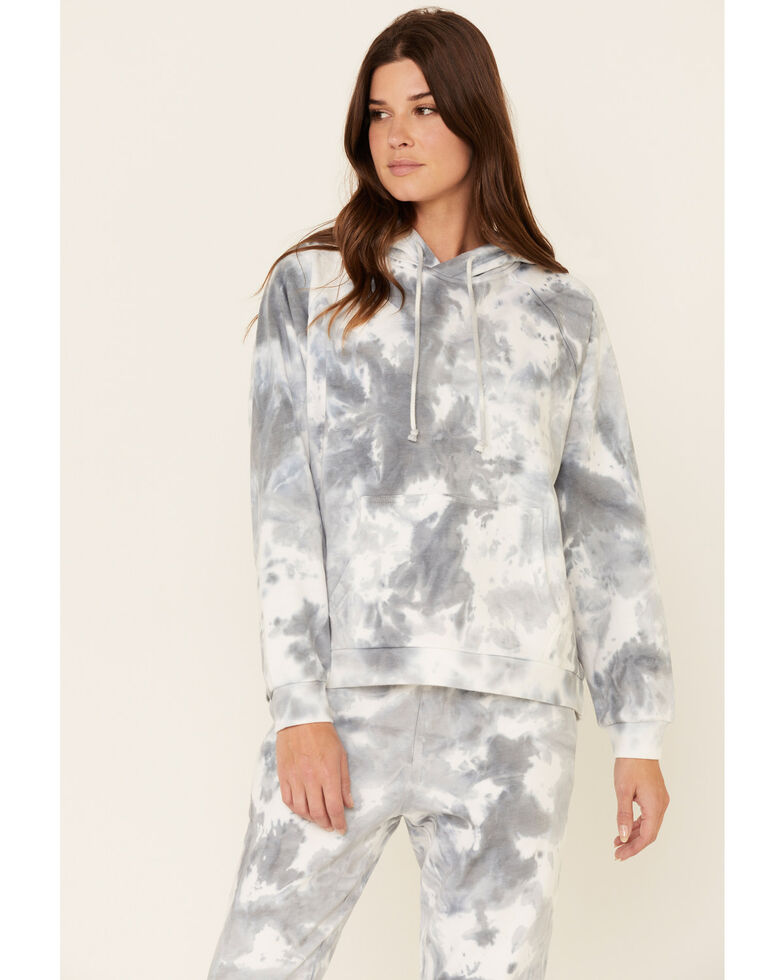 Beyond The Radar Women's Cloud Tie Dye Hooded Sweatshirt , Blue, hi-res
