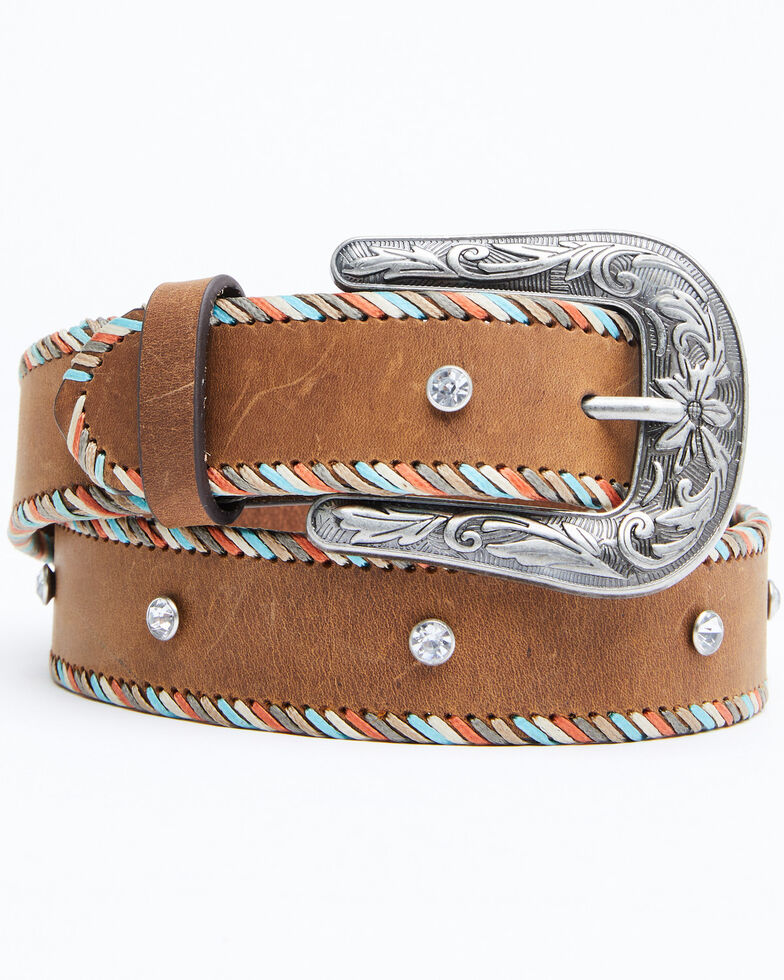Shyanne Women's Multi Colored Lace With Crystals Belt, Brown, hi-res