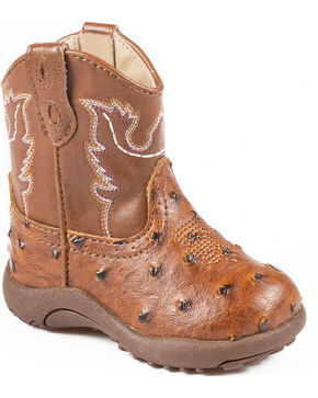 Roper Infant Boys' Ostrich Print Cowbabies Boots, Tan, hi-res