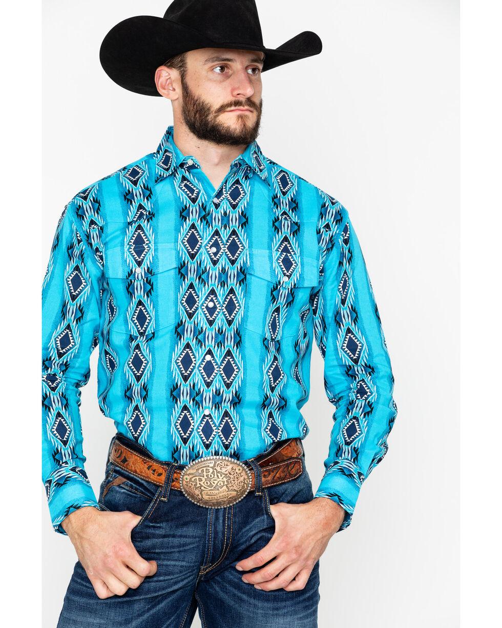 Wrangler Men's Aztec Checotah Print Long Sleeve Western Shirt , Black/turquoise, hi-res