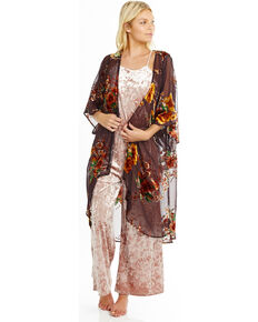Mary & Mabel Women's Japanese Coco Velvet Burnout Long Kimono, Brown, hi-res