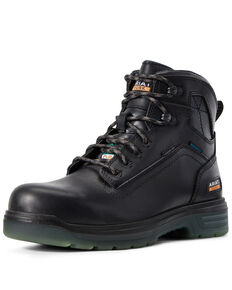 Ariat Men's Turbo Waterproof Work Boots - Carbon Toe, Black, hi-res