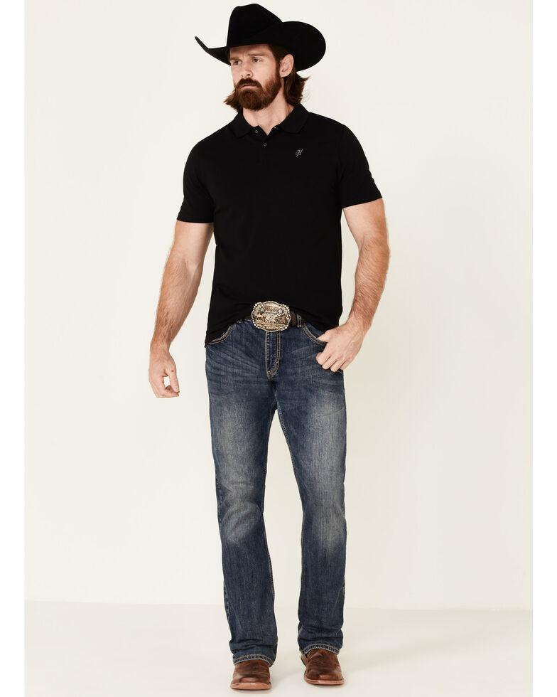 HOOey Men's Solid Black The Maverick Short Sleeve Polo Shirt , Black, hi-res