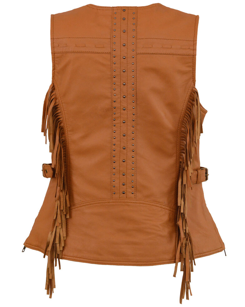 Milwaukee Leather Women's Saddle Tan Fringe Snap Front Vest - 5X, Medium Brown, hi-res