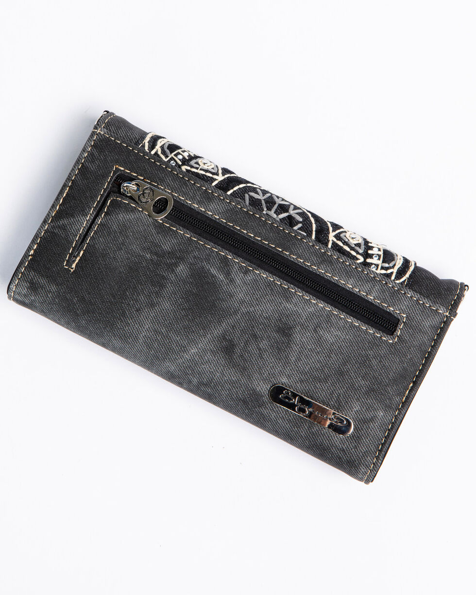 Shyanne Women's Black Embroidered Pocket Wallet Crossbody, Black, hi-res