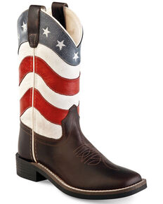 Old West Boys' American Flag Western Boots - Wide Square Toe, Brown, hi-res