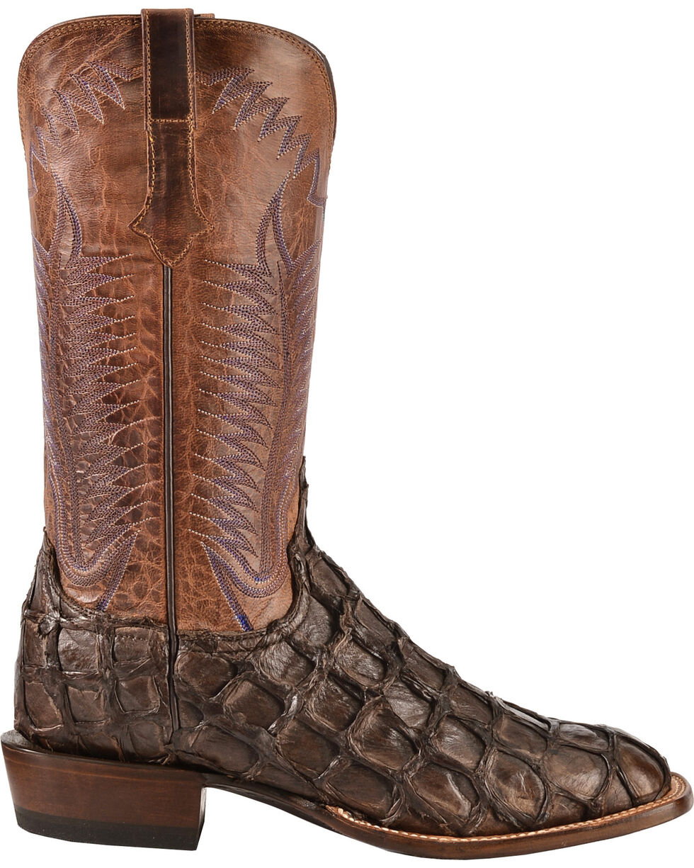 Lucchese Handmade Chocolate Brown Brooks Pirarucu Cowboy Boots - Square Toe , Chocolate, hi-res