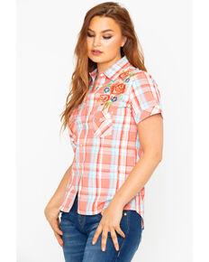 d8dd21cfaecd99 Panhandle Women s Plaid Embroidered Short Sleeve Western Shirt