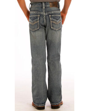 Rock & Roll Cowboy Boys' Embroidered Faded Boot Cut Jeans, Blue, hi-res