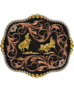 Montana Silversmiths Team Roper Scalloped Belt Buckle, Multi, hi-res