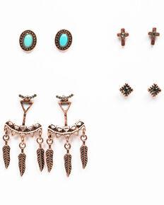 Shyanne Women's Wanderlust Ear Jacket 4 Pack Earring Set , Tan/copper, hi-res