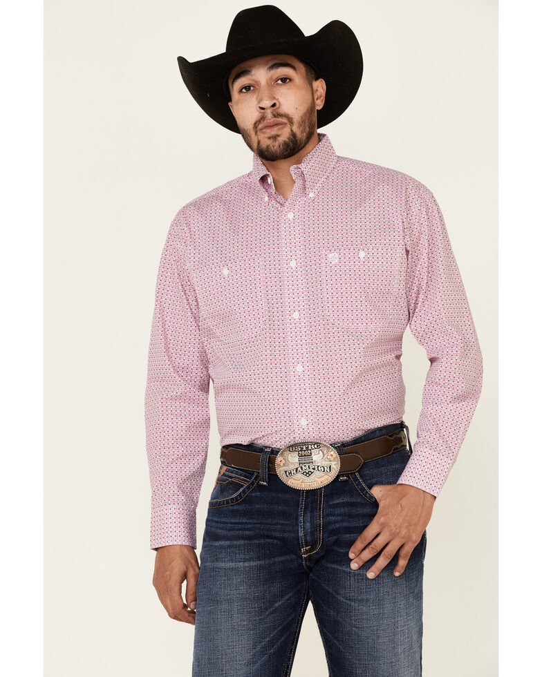 George Strait By Men's White Small Geo Print Long Sleeve Western Shirt , White, hi-res
