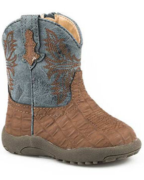 Roper Infant Girls' Adelia Western Boots - Round Toe, Brown, hi-res