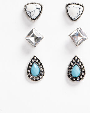 Shyanne Women's 3 Pack Studded Earring Set, Silver, hi-res